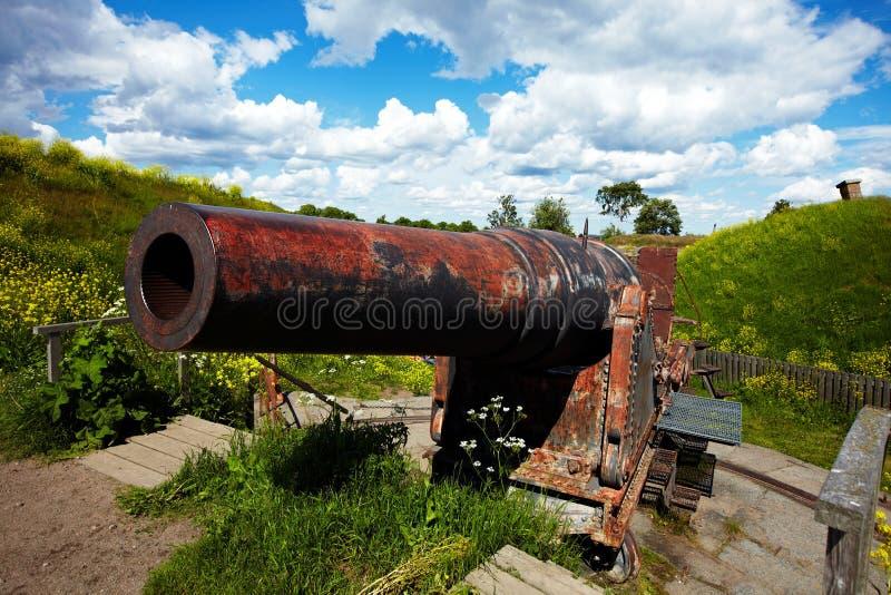Kanon in Suomenlinna-vesting stock fotografie
