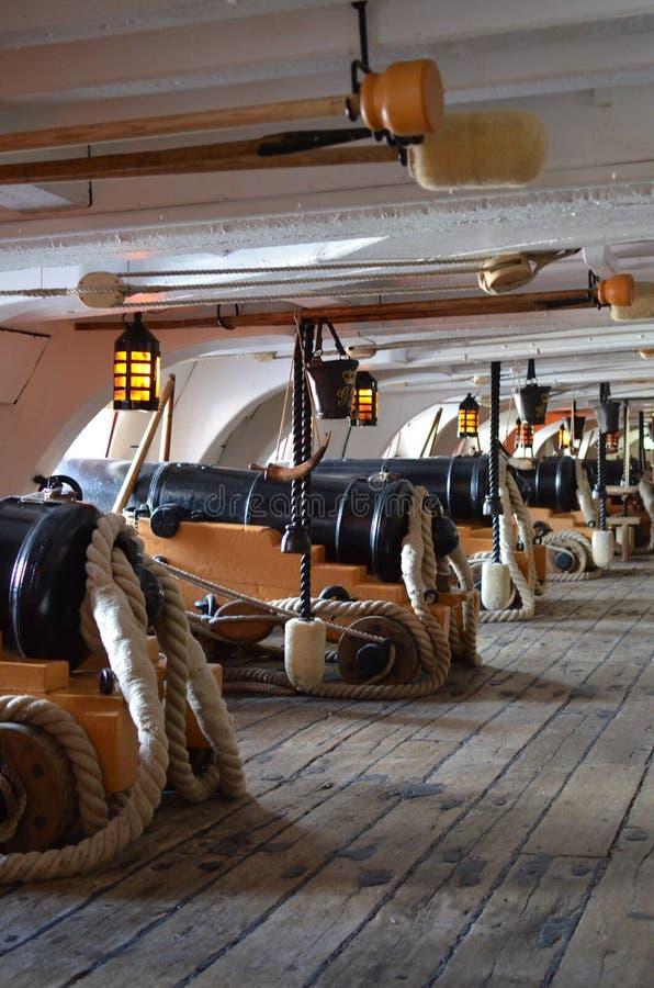 Kanondek van HMS-Overwinning royalty-vrije stock foto