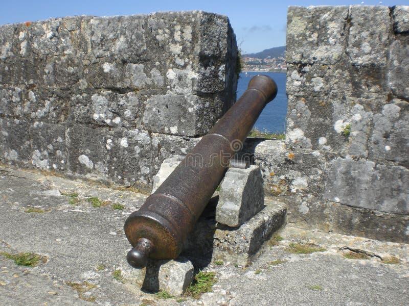 Kanone, die auf den Strand zeigt stockfoto