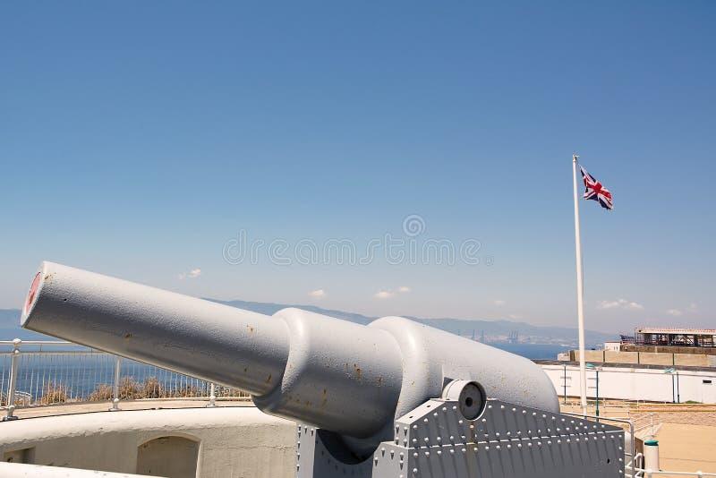 Kanone am Europa-Punkt (Großbritannien) stockfoto