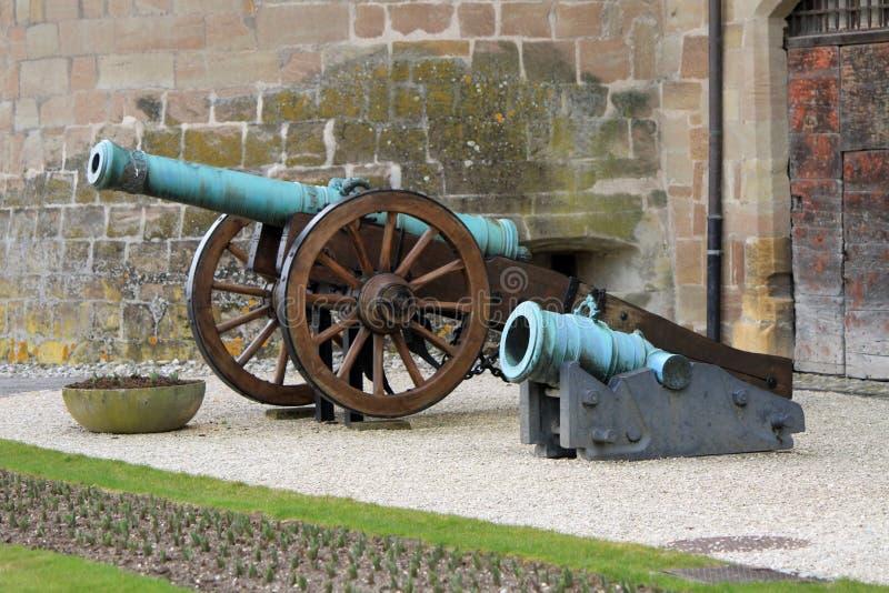 Kanoner framme av slotten, Morges, Schweitz royaltyfri foto