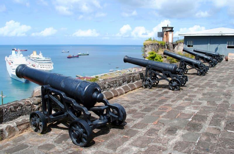 Kanoner i Sts George fort royaltyfri fotografi