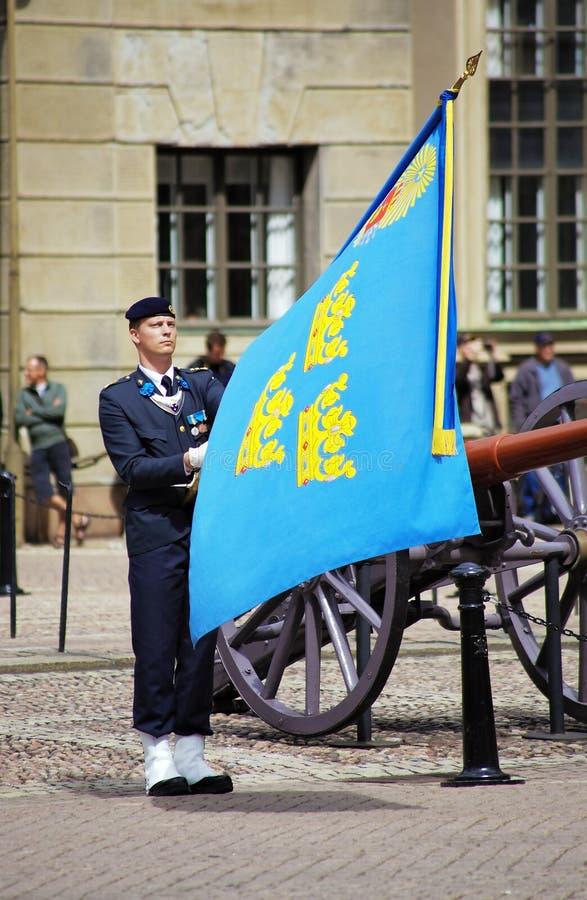 kanonguard nära kungliga stockholm royaltyfri fotografi