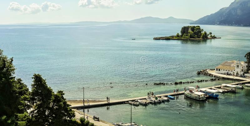 Kanoni, the church of Panagia Vlacherna and the Mouse Island in the Island of Corfu: royalty free stock image
