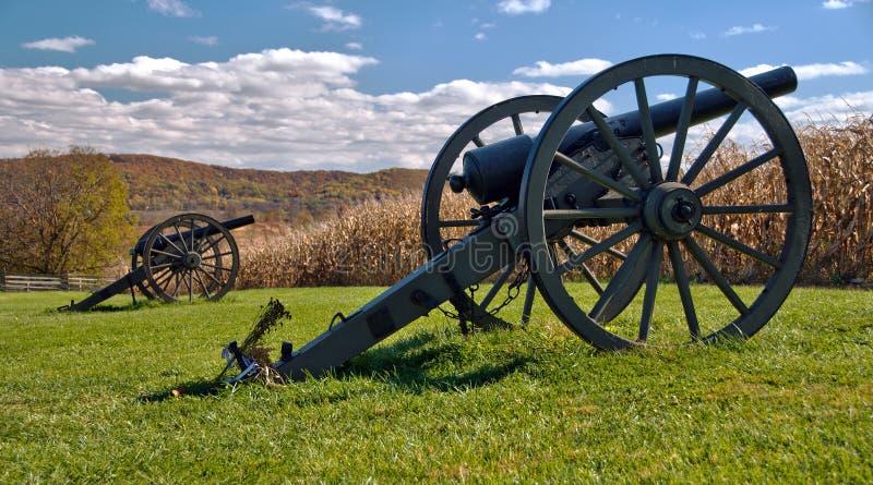 Kanonnen bij Nationaal Slagveld Antietam royalty-vrije stock afbeelding
