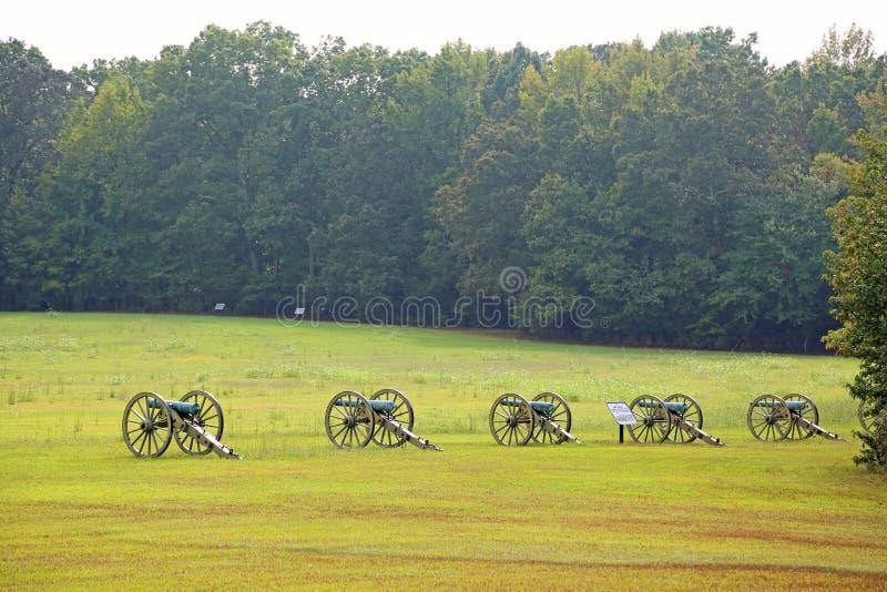 Kanonnen op slagveld van Shiloh stock fotografie