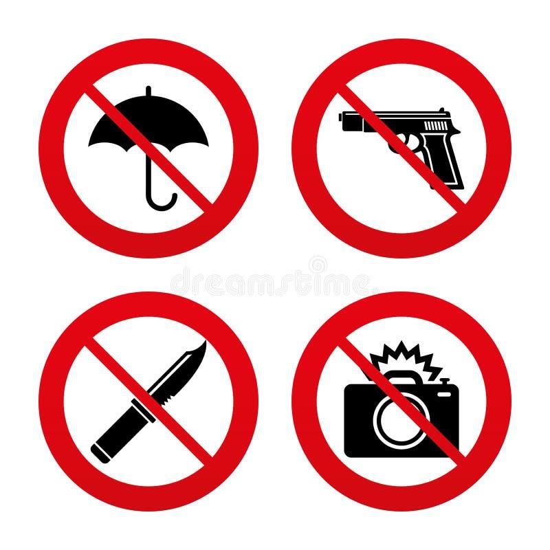 Kanonwapen Mes, paraplu en fotocamera royalty-vrije illustratie