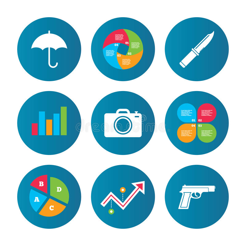 Kanonwapen Mes, paraplu en fotocamera vector illustratie