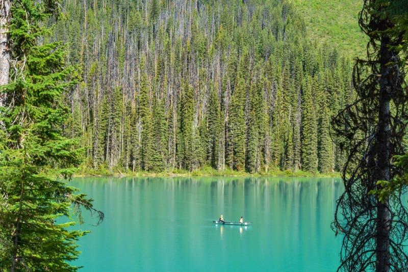 Kanot på Emerald Lake Yoho Canada royaltyfri bild
