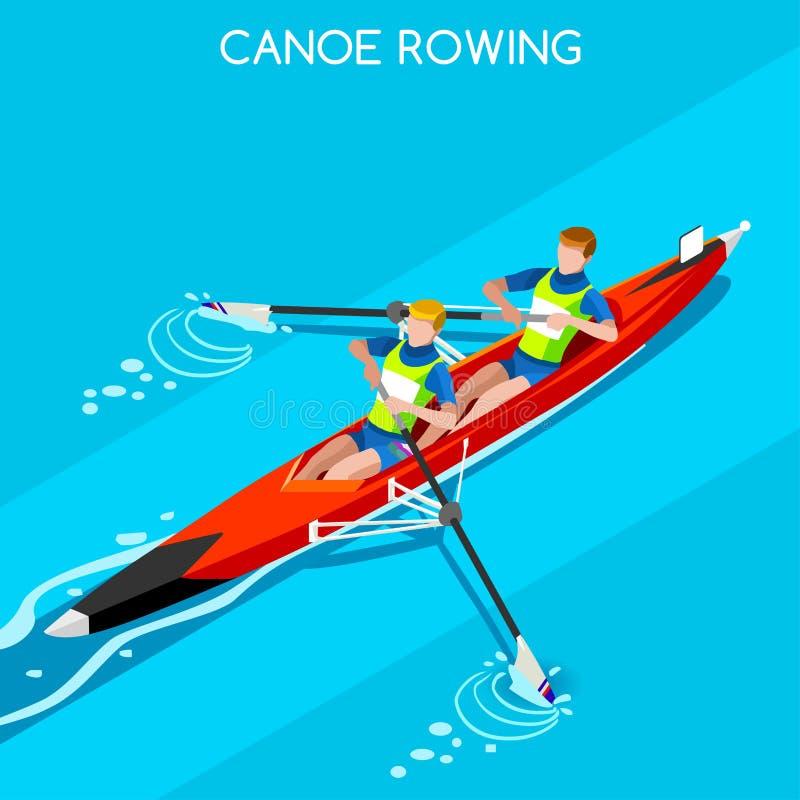Kanoten sprintar ro den Coxless uppsättningen för symbolen för parsommarlekar isometrisk Paddler för kanotist 3D Ro Coxless par s royaltyfri illustrationer