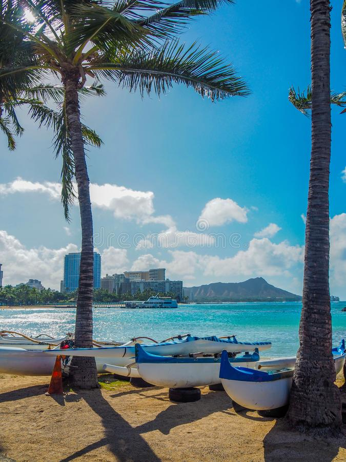 Kanoter på stranden royaltyfria bilder