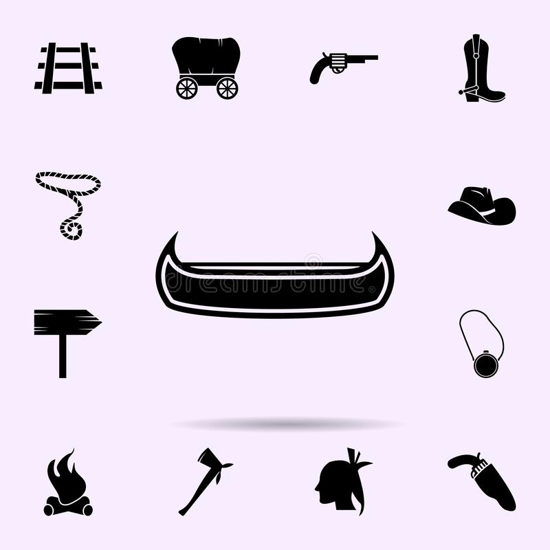 Kanotsymbol universell upps?ttning f?r l?sa v?stra materiella symboler f?r reng?ringsduk och mobil royaltyfri illustrationer