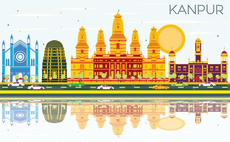Kanpur India City Skyline with Color Buildings, Blue Sky and Ref. Lections. Vector Illustration. Business Travel and Tourism Concept with Historic Architecture stock illustration