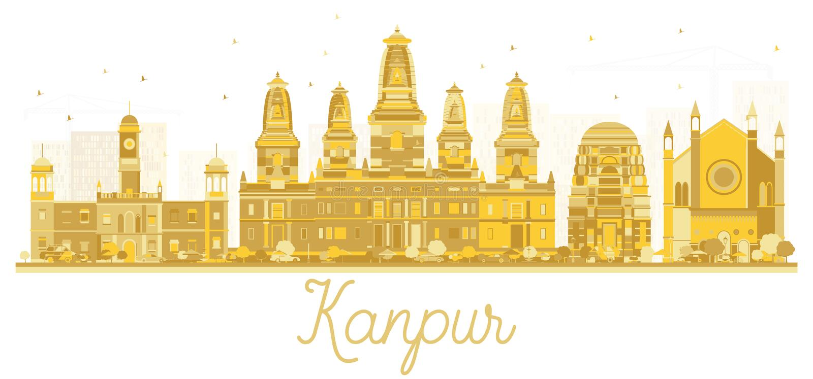 Kanpur India City Skyline Golden Silhouette. Vector Illustration. Business Travel and Tourism Concept with Modern Architecture. Kanpur Cityscape with Landmarks royalty free illustration