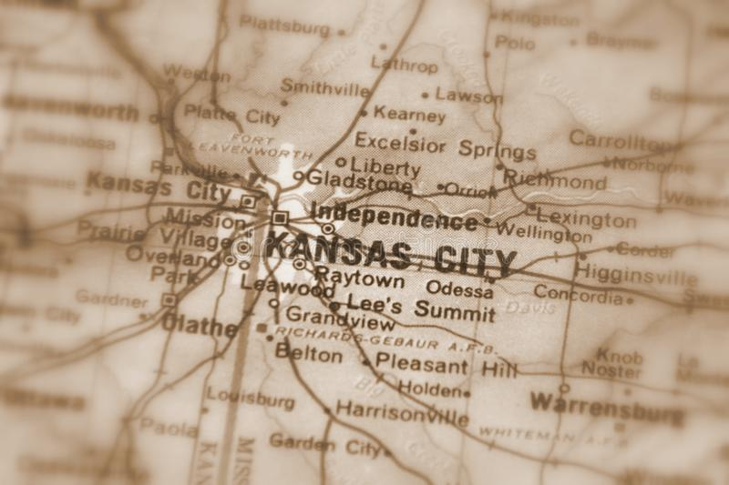 Kansas City, a city in the U.S. Kansas City, a city in the United States of America, USA selective focus sepia stock photo