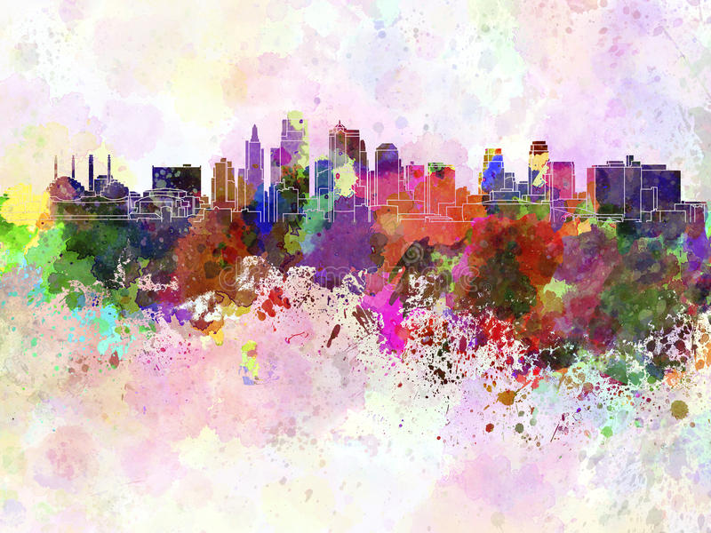 Kansas City linia horyzontu w akwareli tle royalty ilustracja