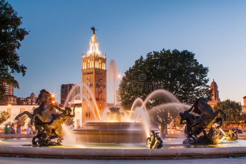 Kansas City Missouri fontanny miasto zdjęcia royalty free