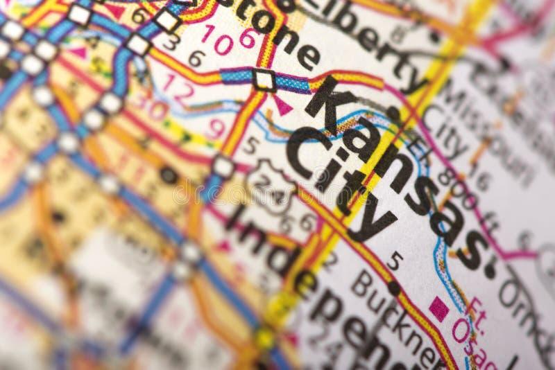 Kansas City, Missouri na mapie obraz stock