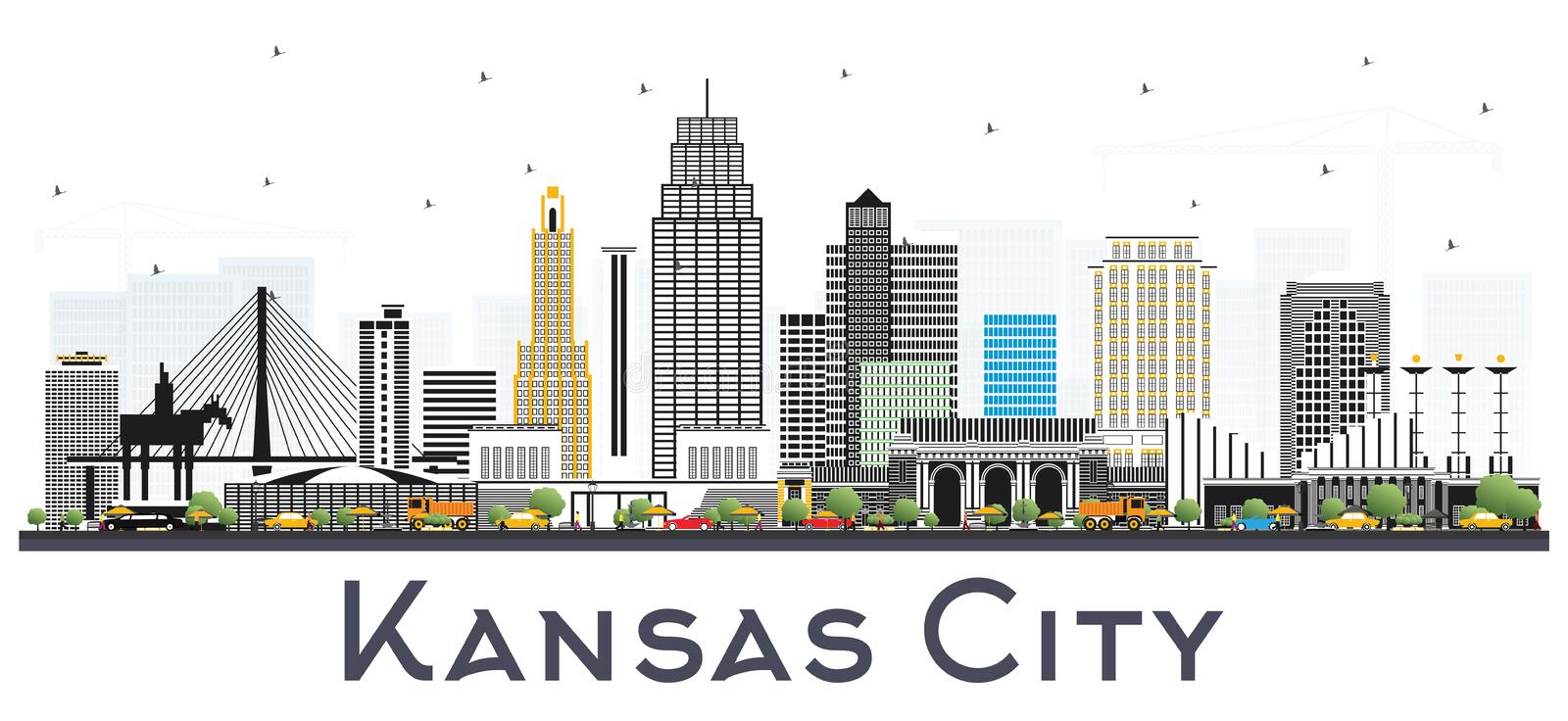 Kansas City Missouri Skyline with Color Buildings Isolated on White. Vector Illustration. Business Travel and Tourism Concept with Modern Architecture. Kansas stock illustration
