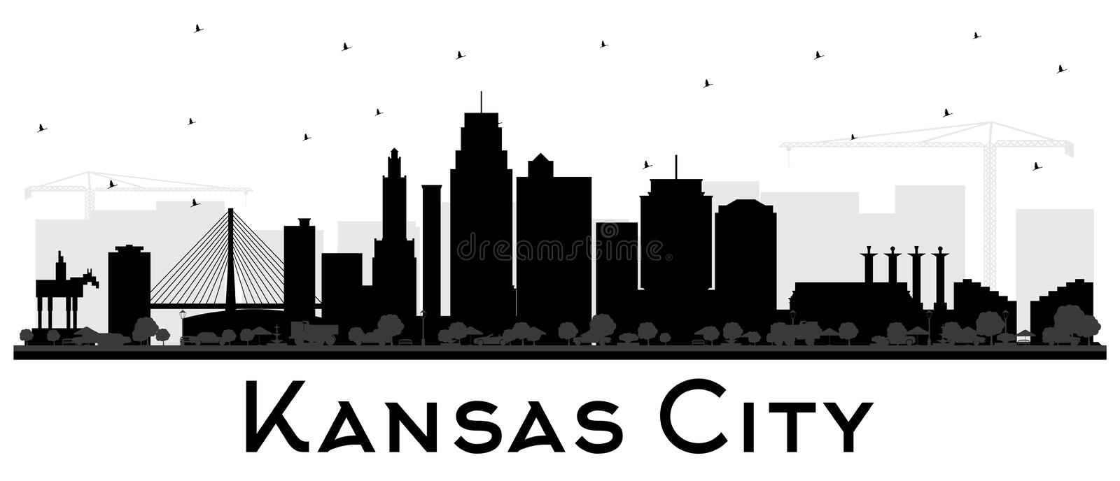 Kansas City Missouri Skyline Silhouette with Black Buildings Isolated on White. Vector Illustration. Business Travel and Tourism Concept with Modern royalty free illustration
