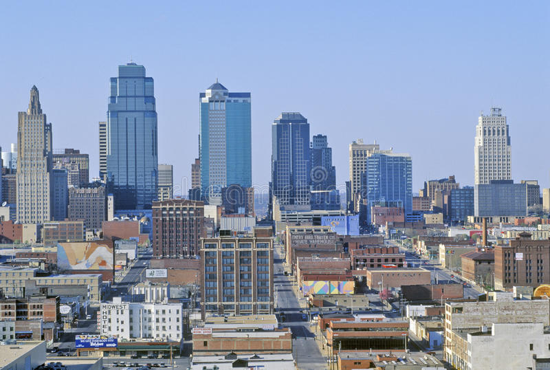 Kansas City skyline from Crown Center, MO royalty free stock photo