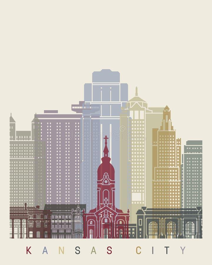 Kansas City skyline poster vector illustration