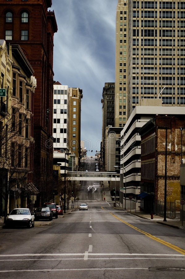 Kansas City Street Scene of City buildings stock images