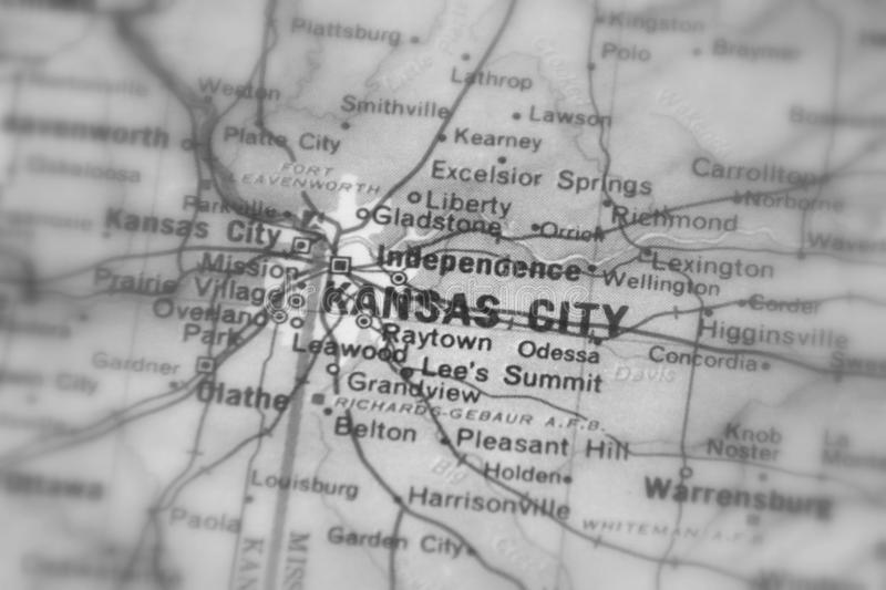 Kansas City, a city in the U.S. Kansas City, a city in the United States of America, USA selective black and white focus stock image