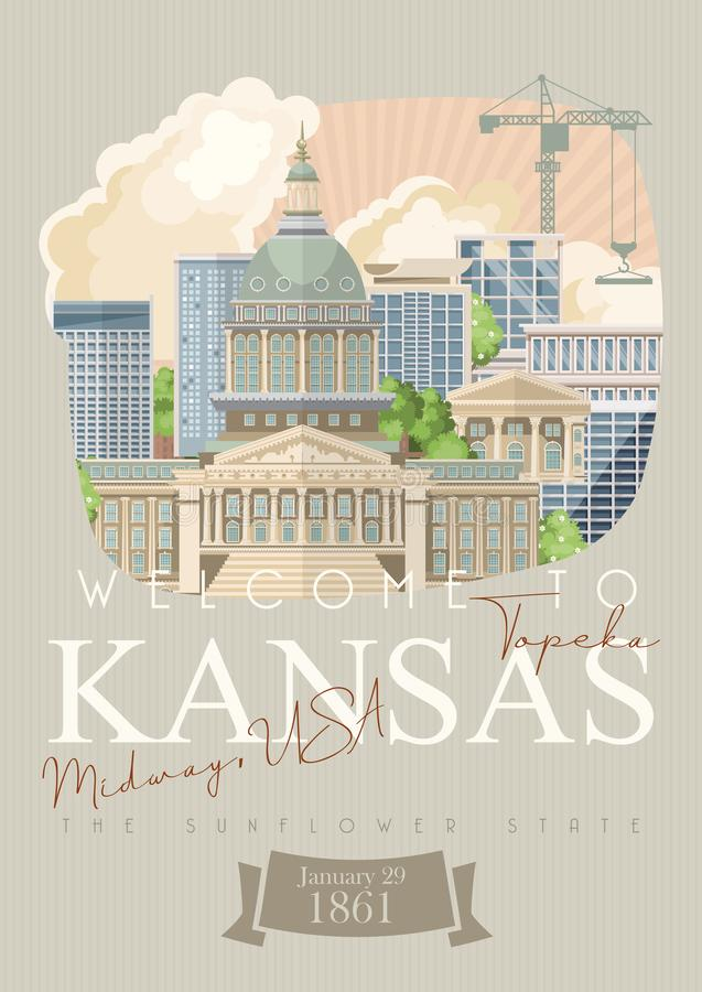 Kansas is een staat van de V.S. topeka Toeristenaffiche en herinnering Mooie plaatsen van de Verenigde Staten van Amerika op pren royalty-vrije illustratie