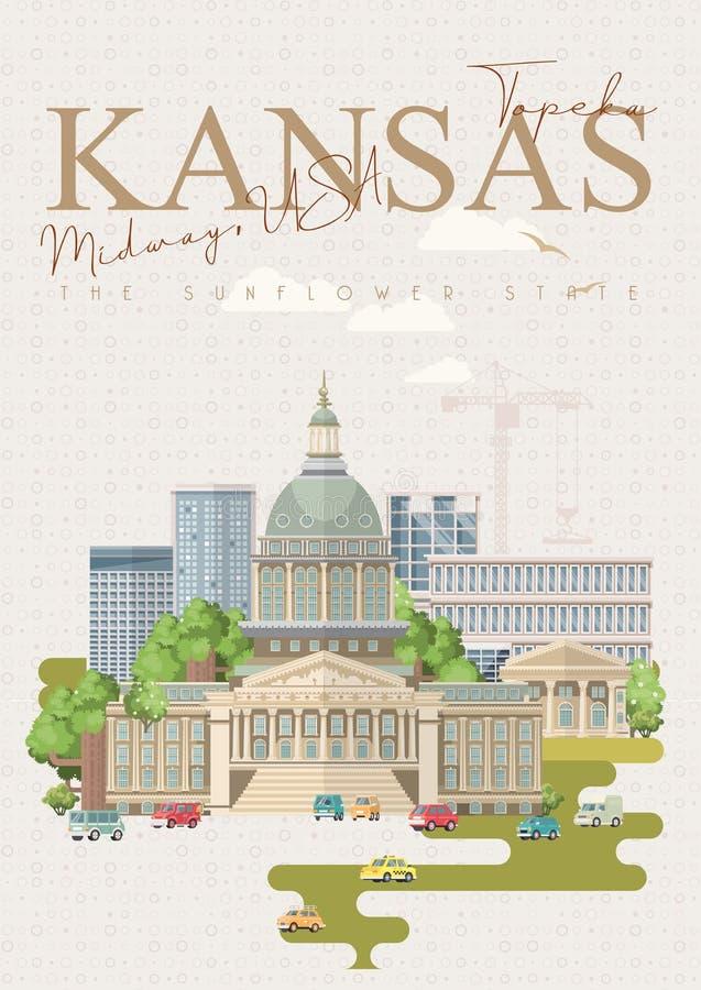 Kansas is een staat van de V.S. topeka Zonnebloemstaat De centrale V.S. stock illustratie