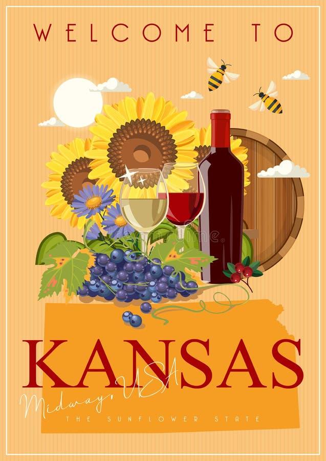 Kansas is een staat van de V.S. Wijn en druif Zonnebloemstaat De centrale V.S. vector illustratie