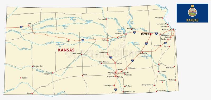Kansas färdplan med flaggan royaltyfri illustrationer