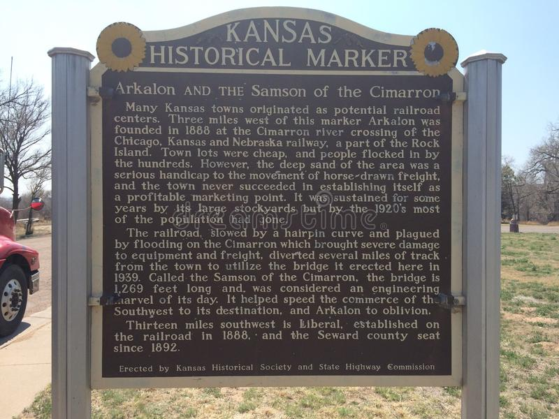 Kansas Historic Marker stock photo