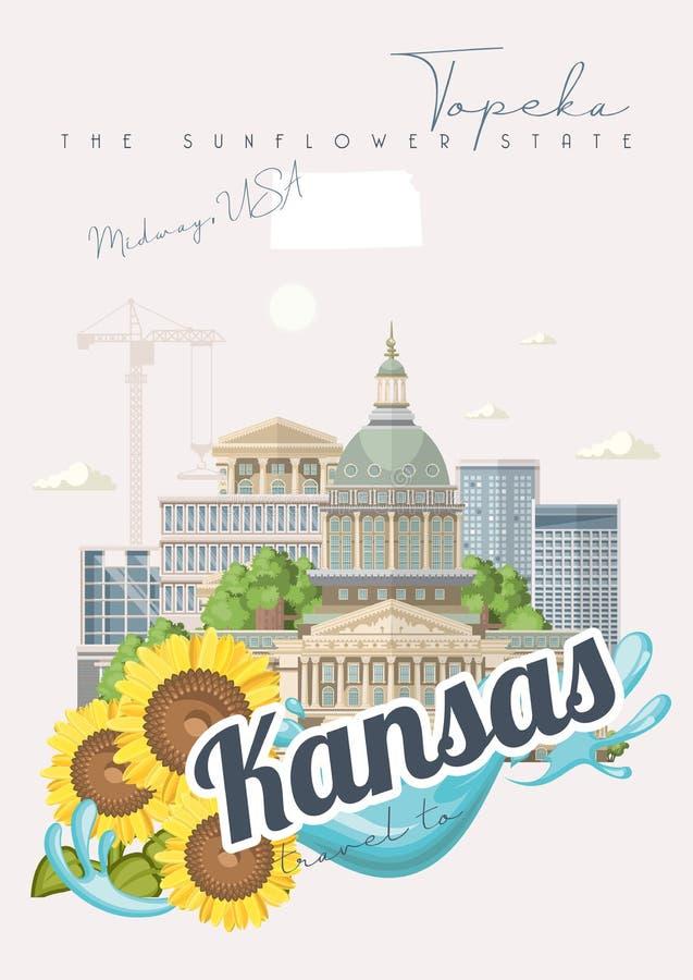 Kansas jest stanem usa midways Turystyczny plakat i pamiątka Piękni miejsca Stany Zjednoczone Ameryka na pocztówce royalty ilustracja