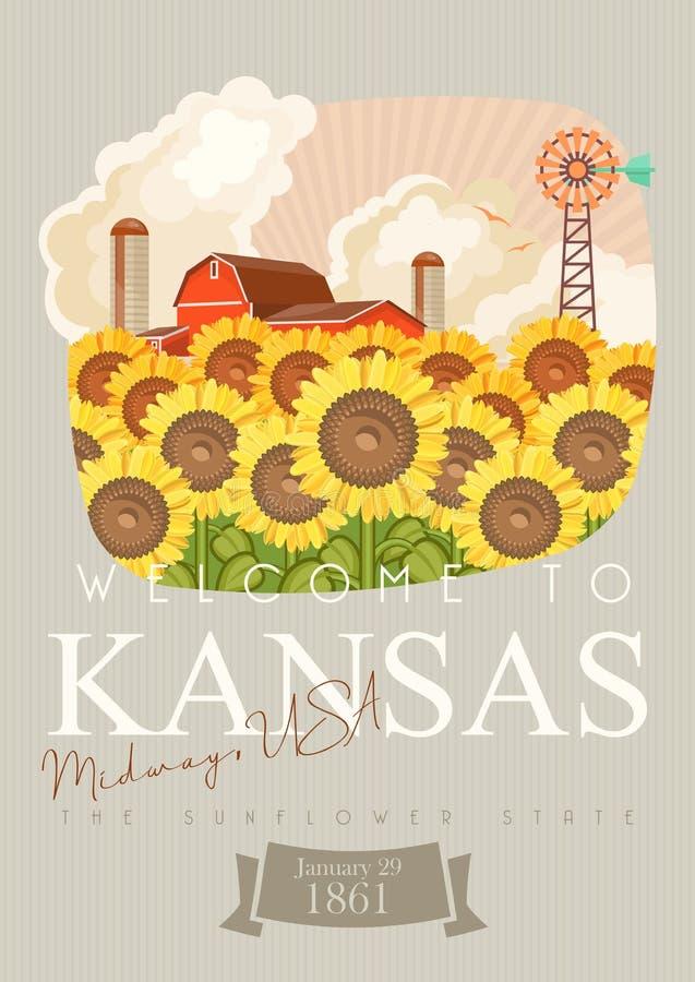 Kansas jest stanem usa Słoneczniki Turystyczny plakat i pamiątka Piękni miejsca Stany Zjednoczone Ameryka na pocztówce royalty ilustracja