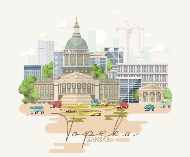 Kansas jest stanem usa topeka Pojęcie turysta pamiątka i karta Piękni miejsca Stany Zjednoczone Ameryka na plakatach ilustracji