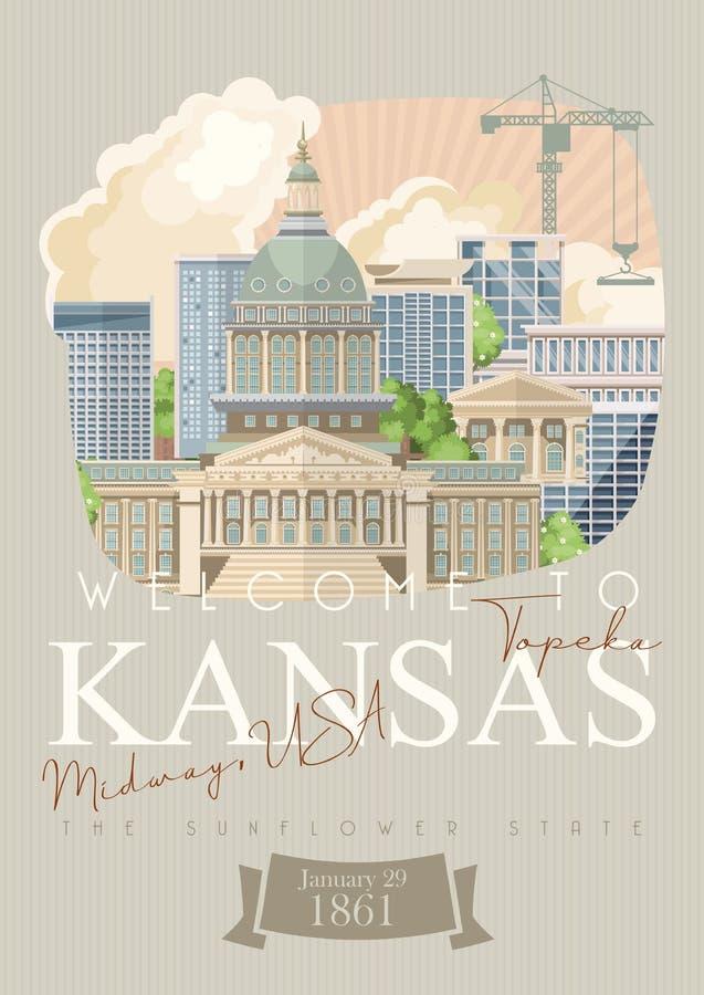 Kansas jest stanem usa topeka Turystyczny plakat i pamiątka Piękni miejsca Stany Zjednoczone Ameryka na pocztówce royalty ilustracja