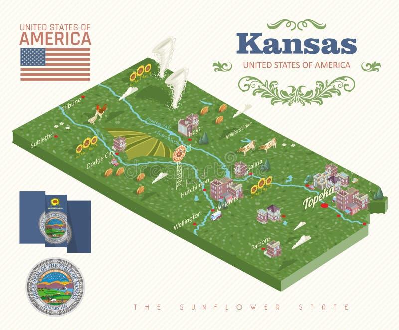 Kansas jest stanem usa Wektorowy isometric turysta pamiątka i karta Piękni miejsca Stany Zjednoczone Ameryka na plakatach ilustracja wektor