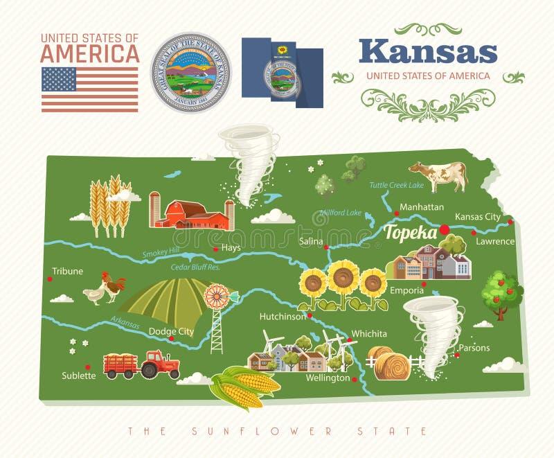Kansas jest stanem usa Wektorowy pojęcie turysta pamiątka i karta Piękni miejsca Stany Zjednoczone Ameryka na plakatach royalty ilustracja