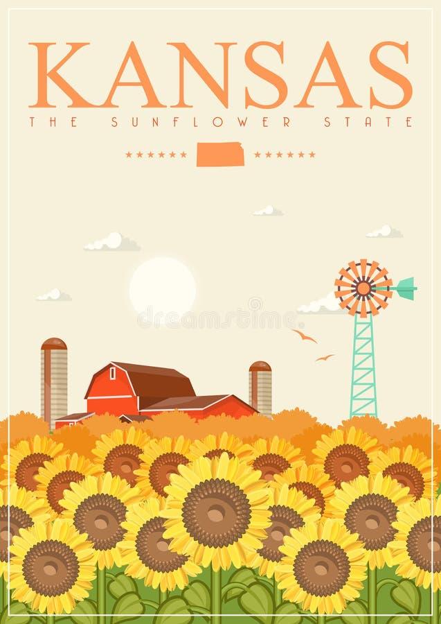 Kansas jest stanem usa Wektorowy pojęcie turystyczna pocztówka i pamiątka Piękni miejsca Stany Zjednoczone Ameryka na plakatach ilustracji