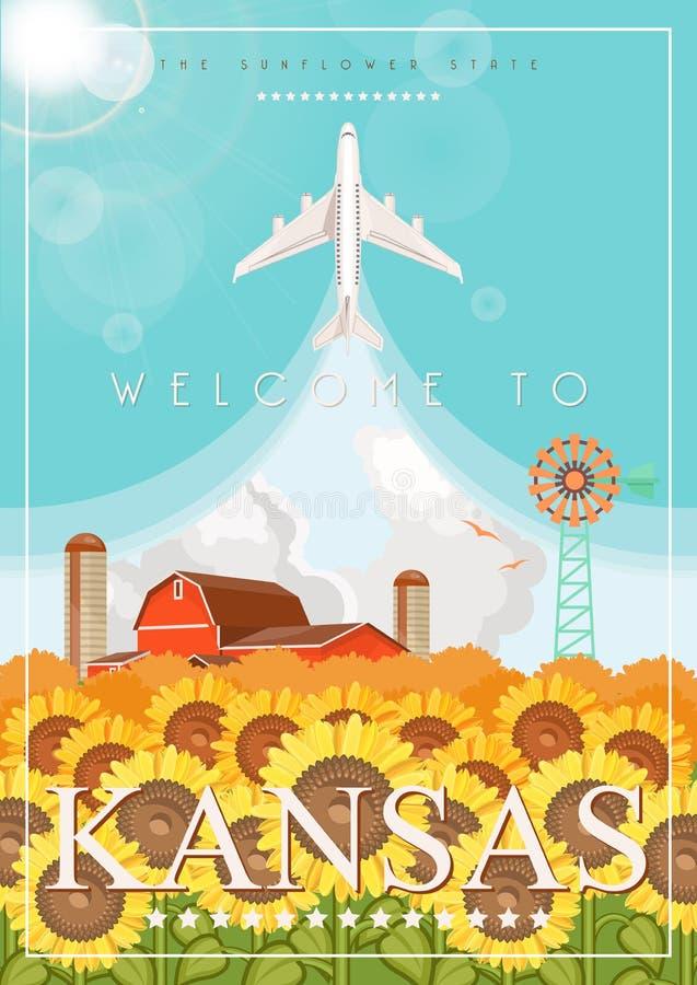 Kansas jest stanem usa Wektorowy pojęcie turystyczny plakat i pamiątka Piękni miejsca Stany Zjednoczone Ameryka na pocztówce royalty ilustracja