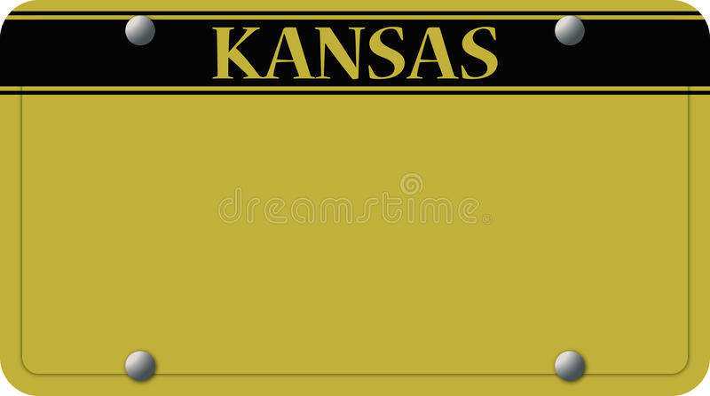 Kansas License Plate. A Kansas license plate design isolated on a white background stock illustration
