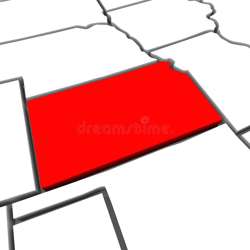 Kansas Red Abstract 3D State Map United States America royalty free illustration