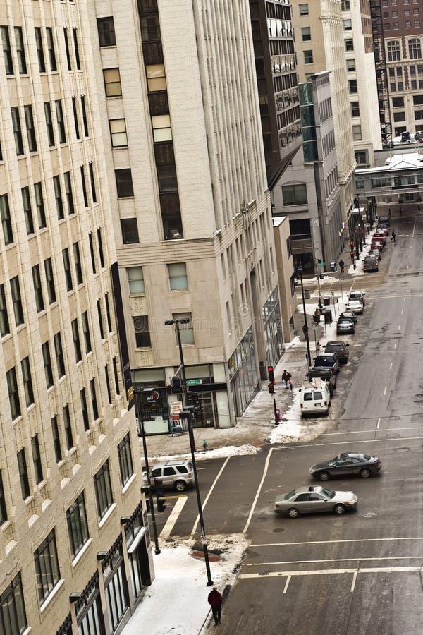 Kansas scène de van de binnenstad van de stadsstraat stock fotografie