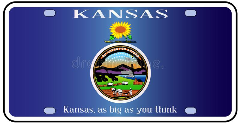Kansas Flag License Plate. Kansas state license plate in the colors of the state flag with the flag icons over a white background royalty free illustration