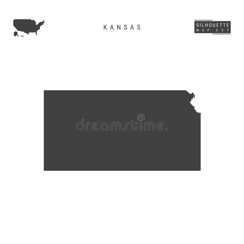 Kansas USA påstår vektoröversikten som isoleras på vit bakgrund Hög-specificerad svart konturöversikt av Kansas vektor illustrationer
