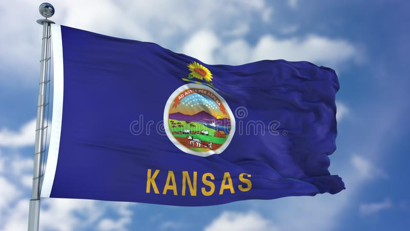 Kansas Waving Flag. Kansas U.S. state flag waving against clear blue sky, close up, isolated with clipping path mask luma channel, perfect for film, news stock image