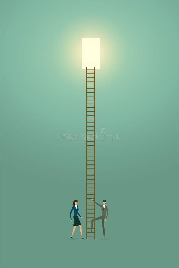 Kansen van de het conceptenoplossing van de bedrijfsmensenvisie de creatieve bovenop laddersucces vector illustratie