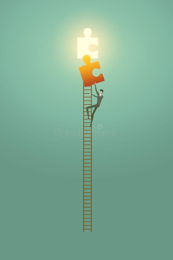 Kansen van de het conceptenoplossing van de zakenmanvisie beklimmen de creatieve bovenop ladder het succes van raadselelementen royalty-vrije illustratie