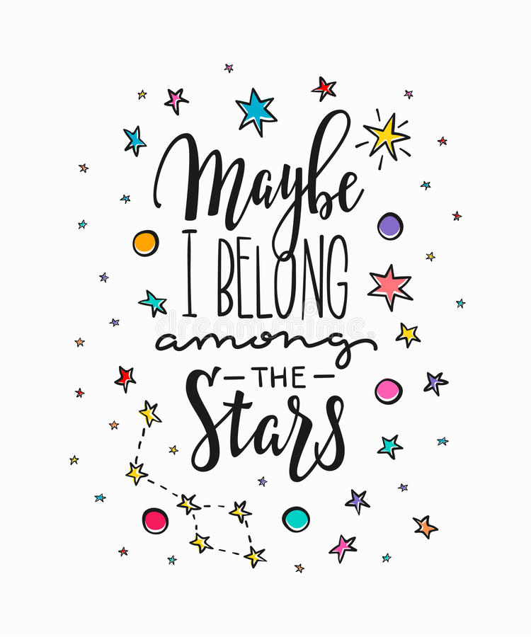 Kanske hör hemma jag bland stjärnatypografibokstäver stock illustrationer